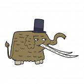 stock photo of mammoth  - cartoon mammoth wearing top hat - JPG