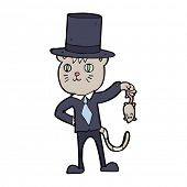 pic of dead mouse  - cartoon wealthy cat dangling a dead mouse - JPG