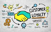 stock photo of loyalty  - Customer Loyalty Service Support Care Trust Tools Concept - JPG