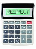 foto of respect  - Calculator with RESPECT on display isolated on white background - JPG