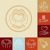 stock photo of non-profit  - Vector charity line logos and signs  - JPG