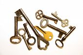 foto of hasp  - Many old keys to the safe on a white background - JPG