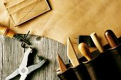 image of leather tool  - Leather crafting tools still life - JPG