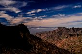 stock photo of volcanic  - View of El Teide Volcan in Tenerife From Gran Canria Mountains Canary Islands Spain - JPG