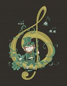 picture of clefs  - Leprechaun is sitting on a big golden treble clef  - JPG