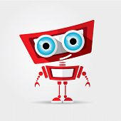 stock photo of robotics  - Cartoon Character Cute red Robot Isolated on Grey Gradient - JPG