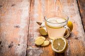 picture of ginger  - Healthy ginger tea with lemon - JPG