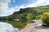 stock photo of calming  - Barrow Bay Derwent Water on calm still summer morning in the English lake District - JPG