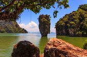 pic of james bond island  -  Calm and warm Andaman Sea and the quaint island - JPG