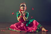 image of east-indian  - Dancer in motion the Kuchipudi Indian classical dance - JPG