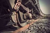 foto of train-wheel  - Low angle view of wheel of vintage train - JPG