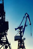 picture of loading dock  - Cranes at the port for loading and unloading in the sun and sky - JPG