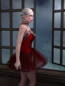 pic of moonlight  - 3d render of a ballerina looking out the window in the moonlight - JPG