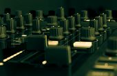 pic of mixer  - DJ mixer in a music studio, close up.