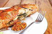 stock photo of plate fish food  - main course  - JPG