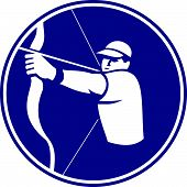 image of archer  - Icon illustration of an archer with bow and arrow aiming set inside circle on isolated background done in retro style - JPG