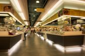 image of department store  - Abstract blur food court in department store for background material - JPG