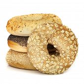 foto of bagel  - Bagels isolated on white - JPG