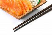 pic of plate fish food  - Fresh salmon sashimi japanese food on wooden dish - JPG