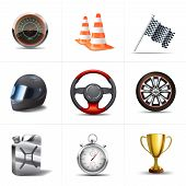 foto of cone  - Racing decorative icons set with stopwatch traffic cones flag isolated vector illustration - JPG