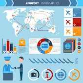 pic of passport template  - Airport infographics set with passenger transportation symbols and charts vector illustration - JPG