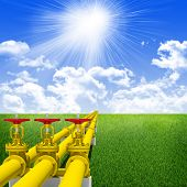 image of gas-pipes  - Three industrial pipes for gas transmission - JPG