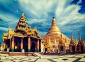 stock photo of yangon  - Vintage retro effect filtered hipster style image of Myanmer famous sacred place and tourist attraction landmark  - JPG
