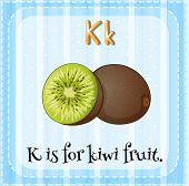 foto of letter k  - Flash card letter K is for kiwi fruit - JPG