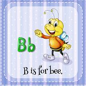 image of letter b  - Flash card letter B is for bee - JPG