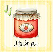 image of letter j  - Flash card letter J is for jam - JPG