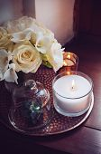 foto of wedding table decor  - Bouquet of white flowers in a vase - JPG