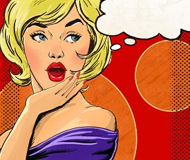 foto of invitation  - Pop Art illustration of blond girl with the speech bubble - JPG