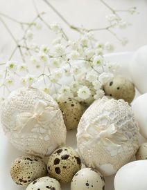 image of quail egg  - Plate  with decorated  Easter eggs in retro style - JPG