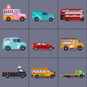 foto of ice-cream truck  - Vector set of various urban and city cars and vehicles - JPG