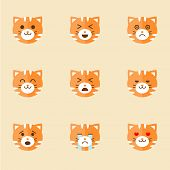 image of angry smiley  - Vector icons of smiley cat faces set - JPG