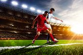 Soccer players in action panorama poster