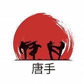 foto of karate  - Men are engaged in karate - JPG