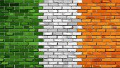 Постер, плакат: Grunge Flag Of Ireland On A Brick Wall