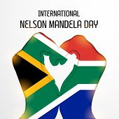 picture of nelson mandela  - illustration of a hand covered with a Flag for International Nelson Mandela Day - JPG