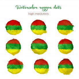 stock photo of reggae  - Watercolor reggae style dots in high resolution - JPG