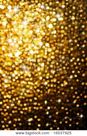 abstract golden background of sparkling christmas lights poster
