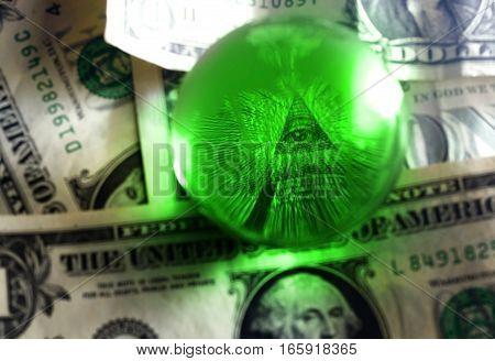 Usd Dollar Bill Eye Pyramid