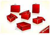 3D icons - Red Christmas Gift Boxes and Shopping Bags