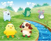 Baby pets near the river. Funny cartoon and vector illustration.