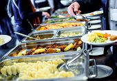 Cuisine Culinary Buffet Dinner Catering Dining Food Celebration Party Concept. poster