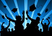 stock photo of young adult  - A large group of students celebrate graduation - JPG