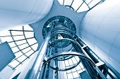stock photo of elevator  - futuristic elevator in the modern building at shanghai china - JPG
