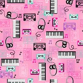 80s Keyboards and Cassette Tapes Seamless Repeat Pattern Vector Illustration