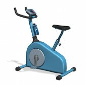 picture of exercise bike  - 3D render of an exercise bike isolated on white - JPG