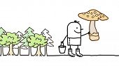 picture of planting trees  - mushrooms picking  - JPG